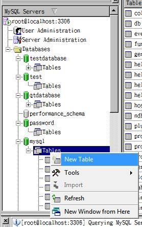 遍历mysql数据库,获得所有数据库和表文件
